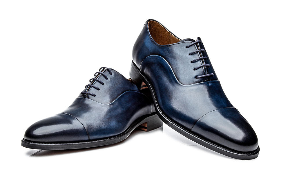 Navy Blue Patina Finish Leather Formal Toe Cap Oxford Lace Up Shoes for Men with Leather Sole. Goodyear Welted Construction Available.