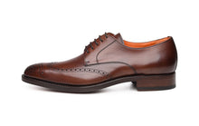 Load image into Gallery viewer, Dark Brown Leather Formal Derby Wingtip Brogue Lace Up Shoes for Men with Leather Sole. Goodyear Welted Construction Available.