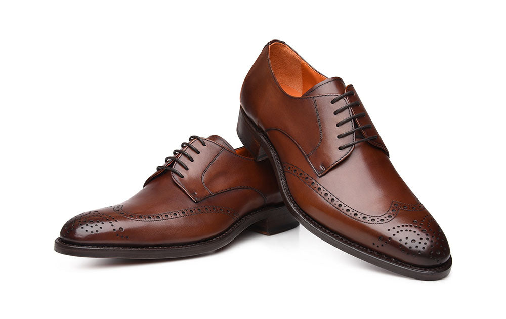Dark Brown Leather Formal Derby Wingtip Brogue Lace Up Shoes for Men with Leather Sole. Goodyear Welted Construction Available.
