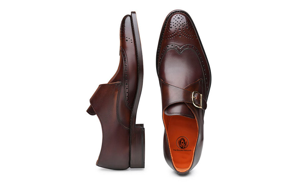 Brown Leather Wingtip Brogue Formal Single Monk Strap Buckle Shoes for Men with Leather Sole. Goodyear Welted Construction Available.