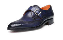 Load image into Gallery viewer, Navy Blue Leather Wingtip Brogue Formal Single Monk Strap Buckle Shoes for Men with Leather Sole. Goodyear Welted Construction Available.