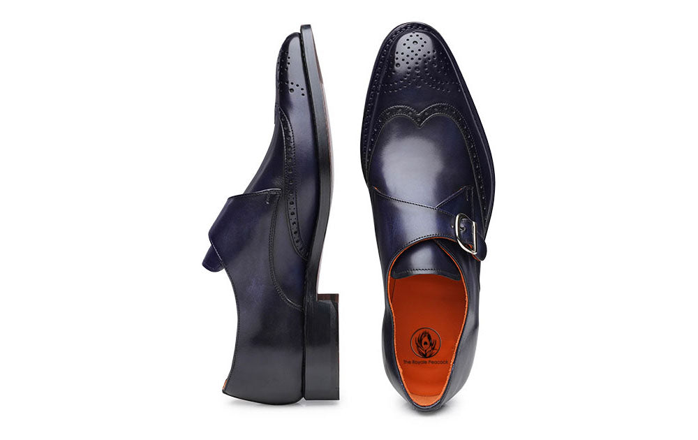 Navy Blue Leather Wingtip Brogue Formal Single Monk Strap Buckle Shoes for Men with Leather Sole. Goodyear Welted Construction Available.