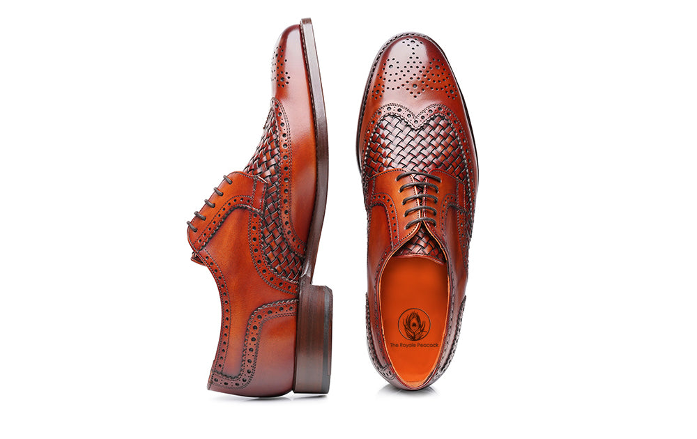 Tan Patina Finish Woven Braided Leather Formal Oxford Wingtip Brogue Lace Up Shoes for Men with Leather Sole. Goodyear Welted Construction Available.