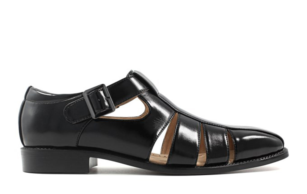 Black Leather Formal Sandal Single Monk Strap Buckle Shoes for Men with Leather Sole. Goodyear Welted Construction Available.