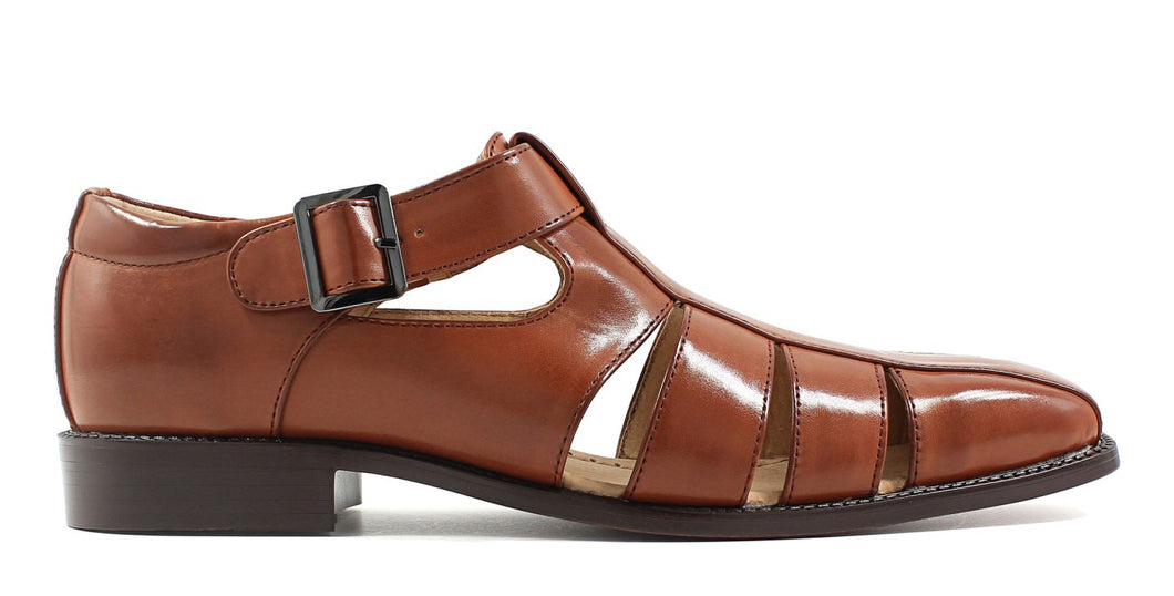 Tan Leather Formal Sandal Single Monk Strap Buckle Shoes for Men with Leather Sole. Goodyear Welted Construction Available.