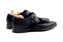 Load image into Gallery viewer, Black Suede Leather Formal Wingtip Brogue Single Monk Strap Buckle Shoes for Men with Leather Sole. Goodyear Welted Construction Available.