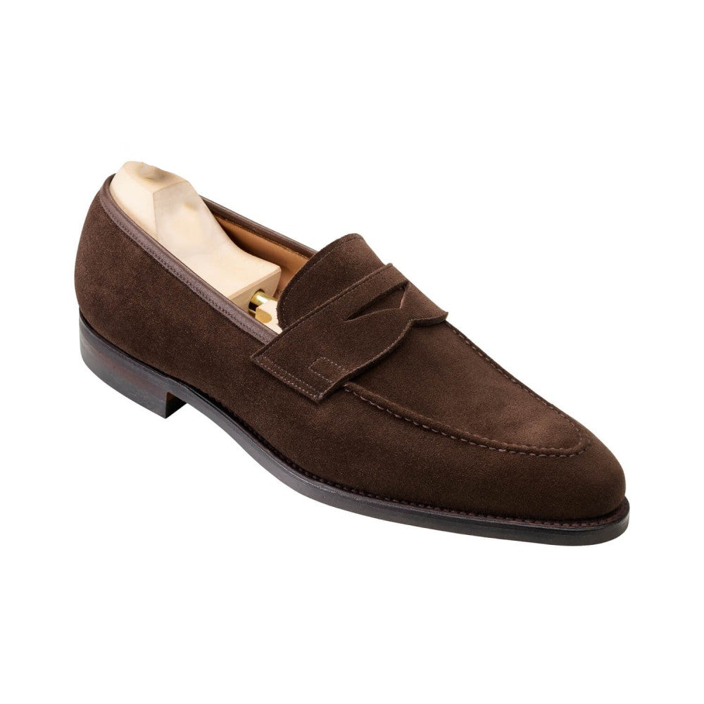 Dark Brown Suede Leather Formal Penny Loafer Slip On Shoes for Men with Leather Sole. Goodyear Welted Construction Available.