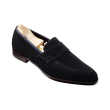 Load image into Gallery viewer, Navy Blue Suede Leather Formal Penny Loafer Slip On Shoes for Men with Leather Sole. Goodyear Welted Construction Available.