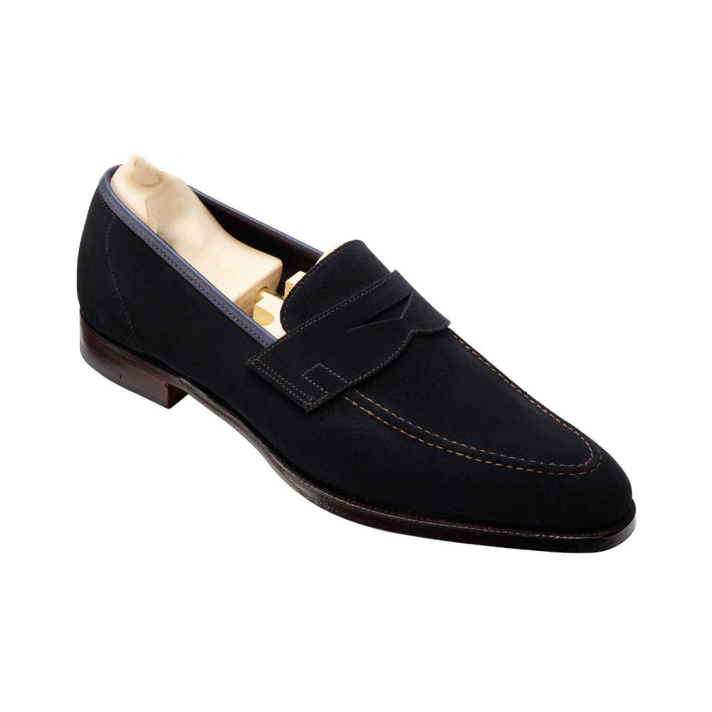 Navy Blue Suede Leather Formal Penny Loafer Slip On Shoes for Men with Leather Sole. Goodyear Welted Construction Available.