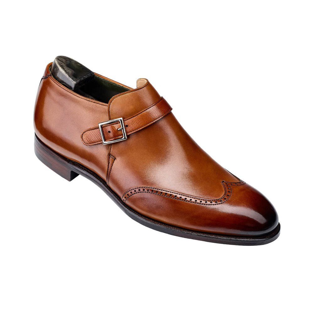 Tan Leather Formal Wingtip Brogue Buckle Slip On Boot Shoes for Men with Leather Sole. Goodyear Welted Construction Available.