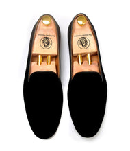 Load image into Gallery viewer, Johnny Black Velvet Slip-ons
