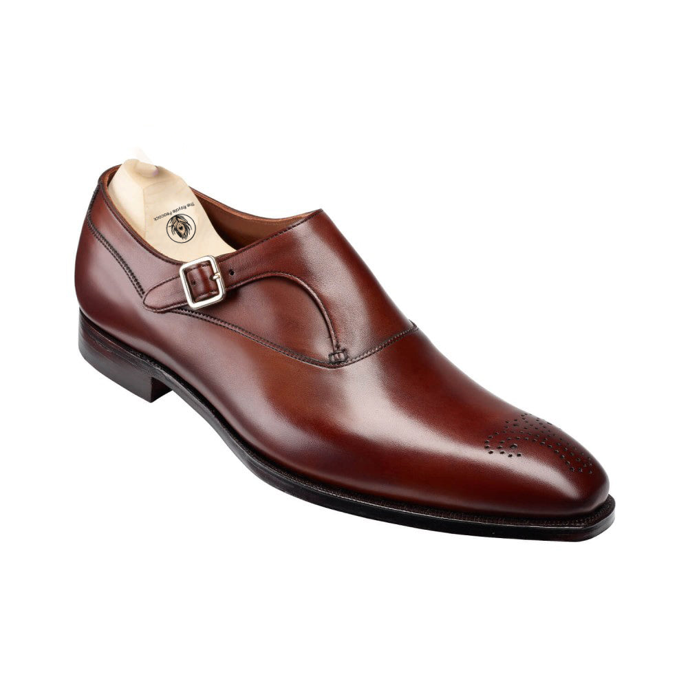 Brown Leather Brogue Formal Single Monk Strap Buckle Shoes for Men with Leather Sole. Goodyear Welted Construction Available.