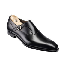 Load image into Gallery viewer, Black Leather Brogue Formal Single Monk Strap Buckle Shoes for Men with Leather Sole. Goodyear Welted Construction Available.
