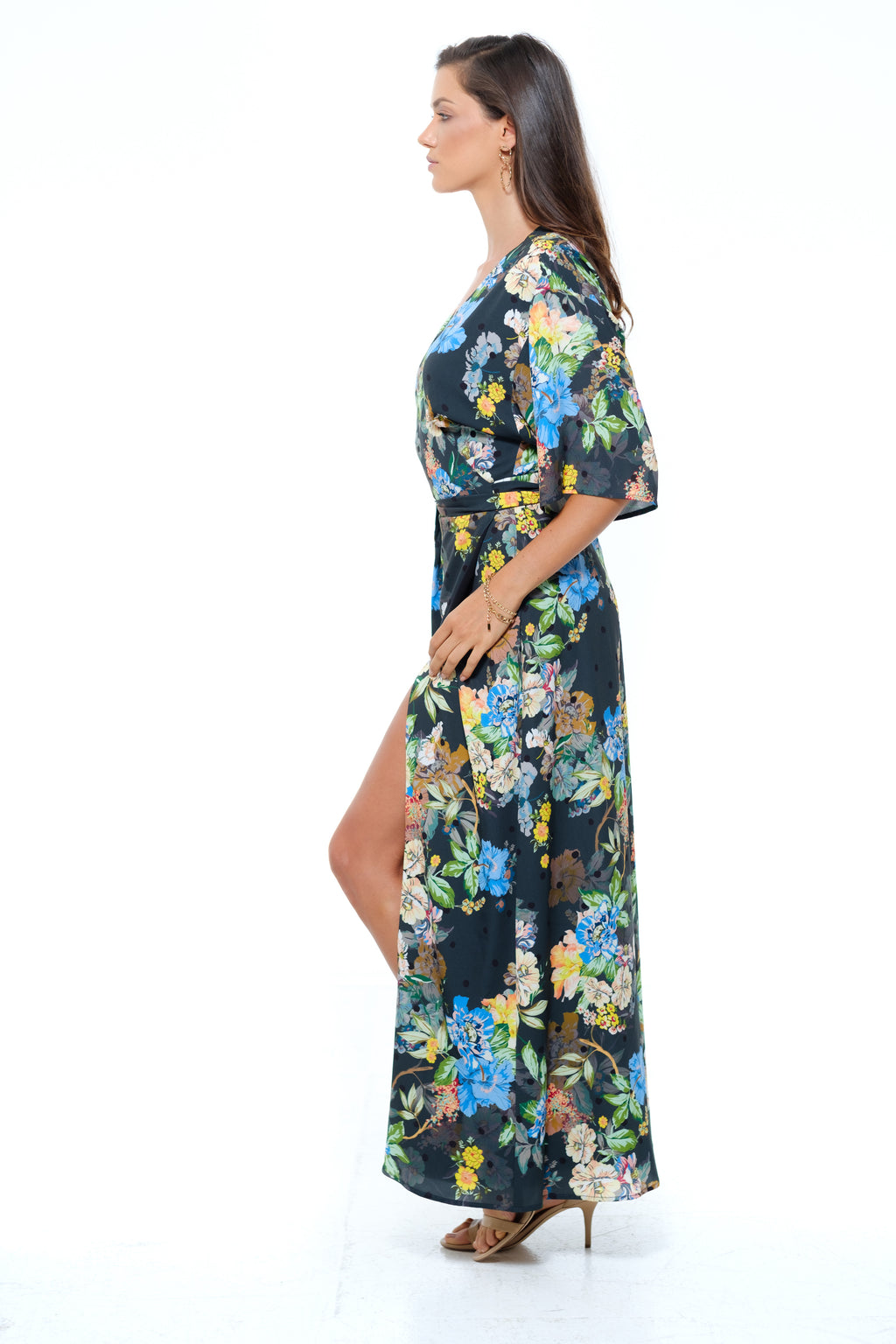 Sorrento Maxi Wrap Dress Black Multi