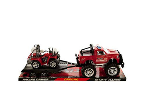 Rvi Toys&Amp;Games Friction Powered Fire Rescue Trailer Truck With Atv