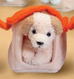 Stuffed Golden Retreiver With Doghouse Magnet 2.5