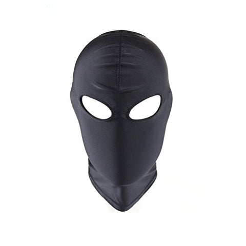 Luoem Full Cover Zentai Hood Mask Elastic Black Breathable Open Eyes Face Cover Blindfold Mask Cosplay Costume Hood Unisex Headgear Size M