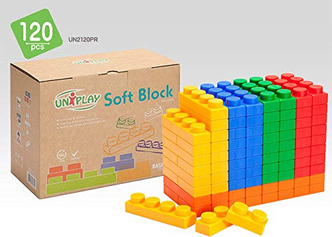 Uniplay Antibacterial Soft Building Blocks Basic Series Multi Colors 120Pcs