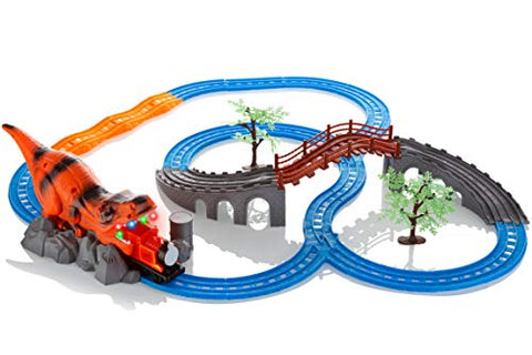 Advanced Play Motorized Kids Classic Railway Toy Train Track Play Set Upper Lower Level Bridge Dinosaur Cartoon Tunnel Sound Effects Flashing Light Kids Toddlers Boy Girls