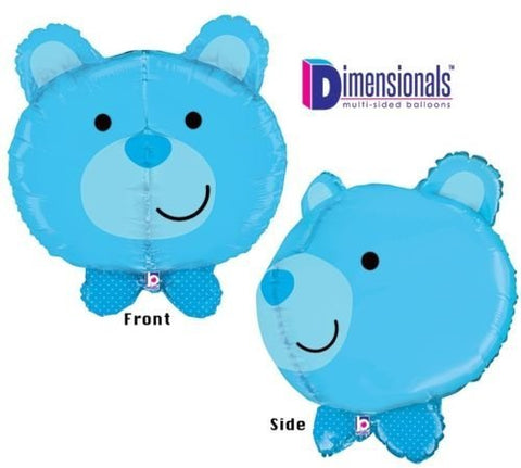 Loonballoon Blue Bear Teddy Dimensional Its A Boy Polka Dot 27 Baby Shower Mylar Balloon