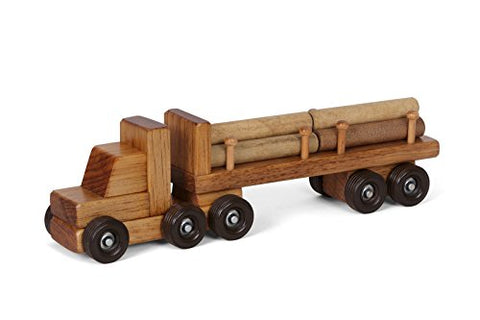 Wooden Toy Small Log Truckharvest Stain Amish Made Usa