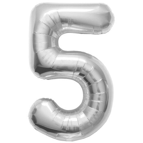34  Silver Number  5  Balloons Happy Birthday Anniversary New Years Party Graduate
