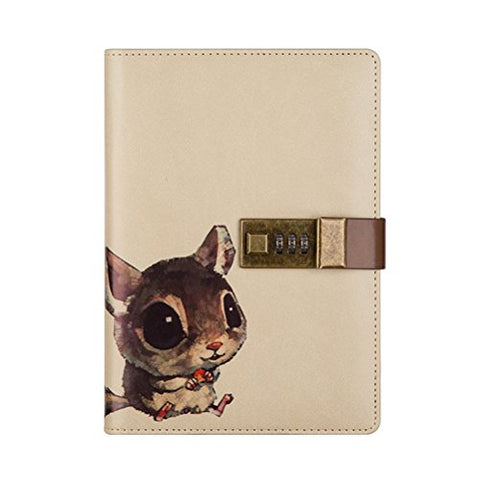 Odowalker Crafted Notebook With Combination Lock Secret Diary Pu Leather Cute Animal Journal Notepad With Pen Holder For Girl And Boy Christmas Or Valentine'S Gift Refillable A5 112 Sheets (Squirrel)
