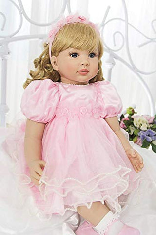 Pursuebaby Toddlers Reborn Princess Doll Laurie With Curly Blonde Hair , 24 Inch Real Life Looking Toddler Dolls Soft Body Snuggle Cuddle For Girls