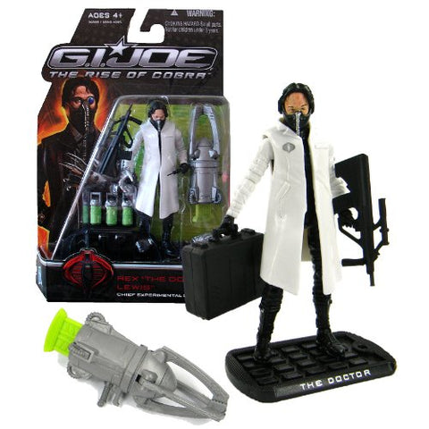 Hasbro Year 2009 G.I. Joe Movie The Rise Of Cobra Series 4 Inch Tall Action Figure - White Coat Chief Experimental Doctor Rex The Doctor Lewis With Iron Hands, Gun, Suitcase With Nanomites Tube, Assault Rifle, Injector And Display Base