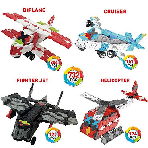 Weofferwhatyouwant Flatblocks Biplane, Cruiser, Fighter Jet, Helicopter And More | 3D Puzzle Toy Building | Figures Level 3 | Collect Them All