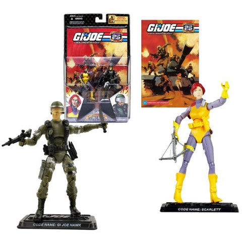 Hasbro Year 2007 G.I. Joe 25Th Anniversary Comic Pack Series 4 Inch Tall Action Figure - Scarlett With Crossbow And Gi Joe Hawk With Rifle And Gun Plus 2 Display Base And Comic Book