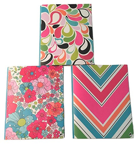 Studio C Carolina Pad Set Of 3 Poly Folders ~ Sugarland (Leafy Flower Heads, Flower Petals, Colorful Chevrons; Two Pocket Folders With Prongs)