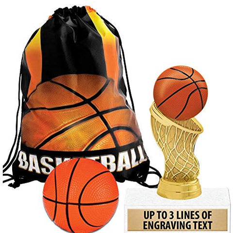 Crown Awards Basketball Goodie Bags, Basketball Favors For Basketball Themed Party Supplies Comes With Personalized Basketball Hoops Custom Trophy, Squishball And Basketball Drawstring Prime