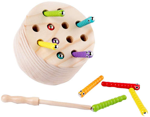 Binory Wooden Magnetic Catch Worm Game Early Educational Toys,Developing Kids Hand-Eye Coordination And Color Cognition,Montessori Preschool Birthday Gift For Children 3 Years Old And Up(C)