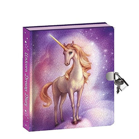 Peaceable Kingdom Unicorn Dreams Invisible Ink Pen 6.25  Lock And Key, Lined Page Diary For Kids