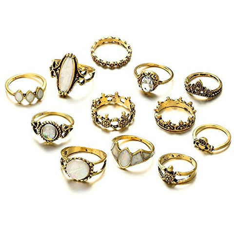 Wenyujh Retro Rings Fashion Rings Hollow Carved Flowers Joint Knuckle Rings Sets