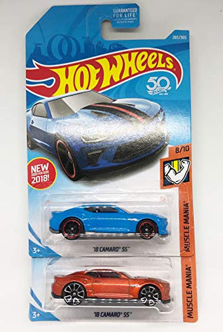 Hot Wheels 2018 Muscle Mania 8/10 - '18 Camaro Ss (Orange &Amp; Blue) Set Of 2!