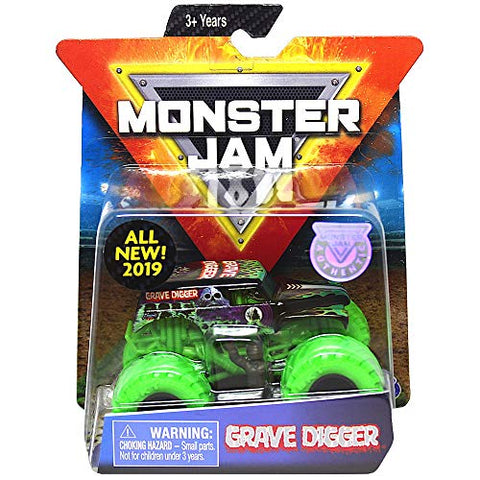Grave Digger Green Tires Monster Jam With Figure &Amp; Poster