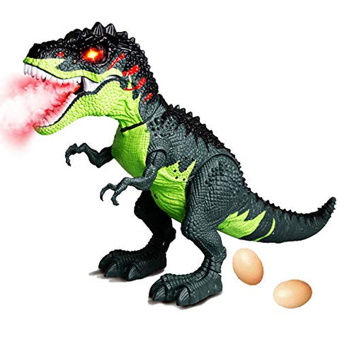 Wowok Simulated Flame Spray Tyrannosaurus T-Rex Dinosaur Toy For Kids, Walking Realistic Dinosaur With Fire Breathing Water Spray Red Light Mist, Realistic Sounds And Lay Eggs Functions