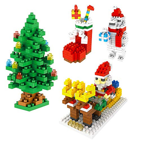 Christmas Building Kits Toy Gifts For Kids Mini Building Blocks Set Of Christmas Tree, Santa Claus, Christmas Sock, Snowman(4 Sets)
