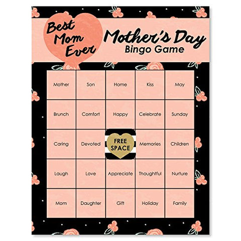 Big Dot Of Happiness Best Mom Ever - Mother'S Day Party Game Bingo Cards - 16 Count