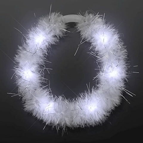 Blinkee Led White Feather Angel Halo Crown Headband By