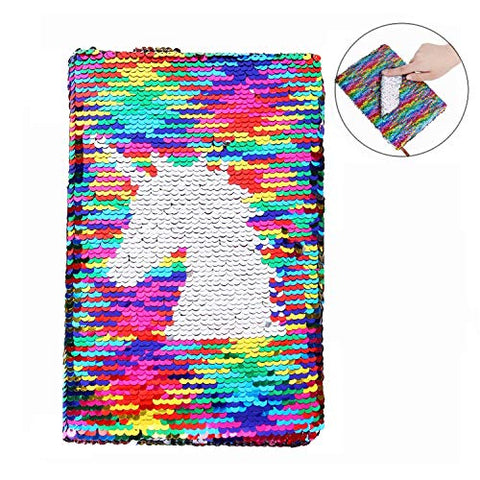 Reversible Sequin Notebook Unicorn Sequin Journal Diary Lined Travel Journal For Kids Girls Size A5 (8.5 X 5.5) 78 Sheets
