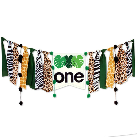 Codohi Wild One Jungle Safari High Chair Banner, Green & Gold Birthday Decoration, Safari Highchair Banner For 1St Birthday Baby Boy Lion Party