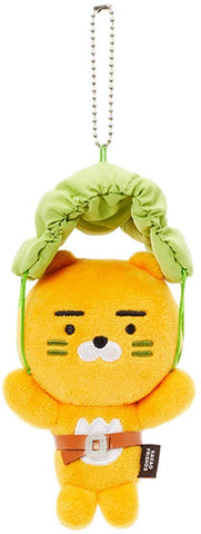 Kakao Friends Official- Battle Grounds Plush Doll Key Ring (Ryan Parachute)