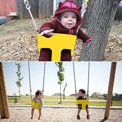 Dtemple Kids Swing Seat Playground Park Children Baby Outdoor Full Bucket Seat Swing With Coated Chain(Us Stock) (Yellow)