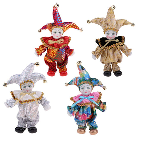 Cuticate Set Of 4Pcs Porcelain Dolls Collectible 6Inch Height Harlequin Doll In Costume, Creative Valentin Gifts For Him Or Girlfriend
