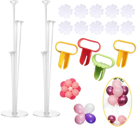 Sbyure Balloon Stand Holder Kit,2 Sets Reusable Clear Table Desktop Balloon Holder(11 Balloon Sticks,7 Balloon Cups,1 Balloon Base)With 4 Balloon Tying Knot Tool,10 Balloon Clips For Birthday,Wedding Party Decorations Supplies