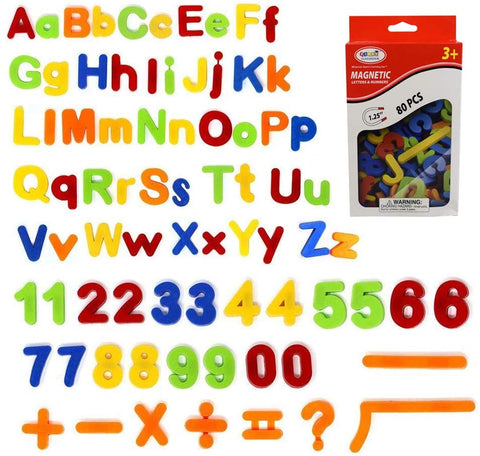Simuer 80Pcs Magnetic Letters Numbers, Alphabet Refrigerator Magnets Kids Learning Educational Toys Includes Uppercase, Lowercase Math Symbols