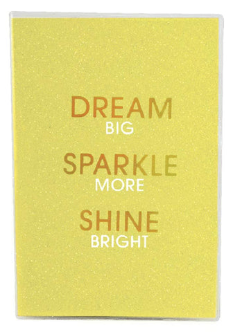 "Iscream 'Dream Sparkle Shine' Metallic Glitter Cover Book-Bound Lined-Page 12"" Journal"